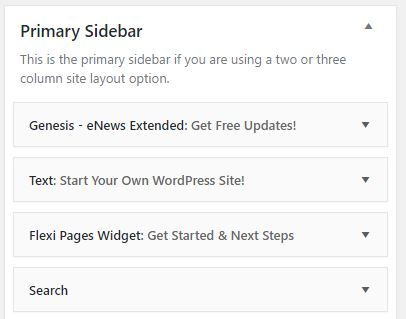 Primary Sidebar Widgets for Build a Website with WordPress