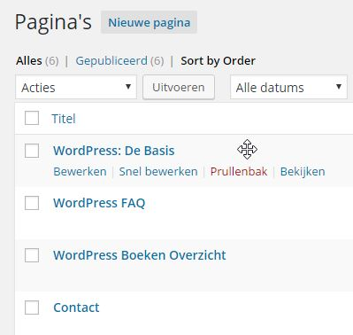 Sorting Pagina's ‹ WordPress Basis — WordPress