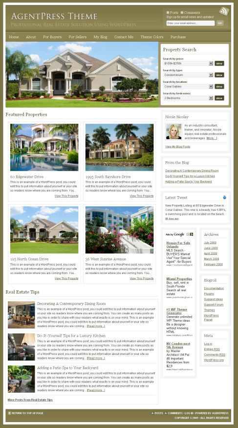 WordPress Theme for Realestate Agent in Tan