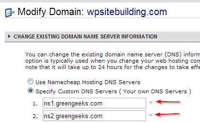 DNS Change at Namecheap