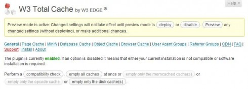 Disable W3 Total Cache Preview