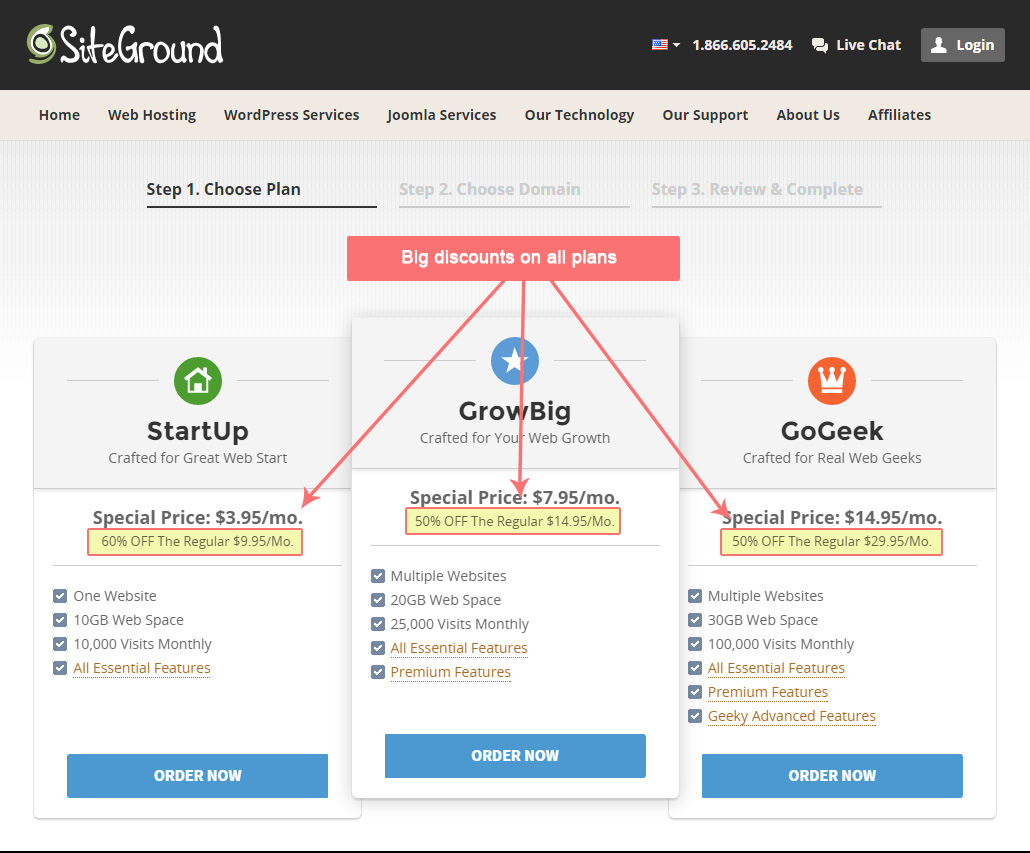 Hosting Signup Siteground Step 1
