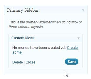 Primary Sidebar Custom Menu Widget