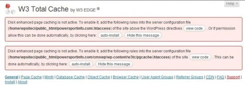 w3 total cache errors settings