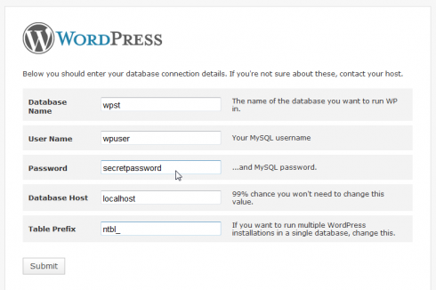 WordPress Installation Step 3 with table prefix