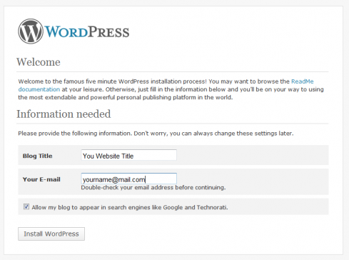 WordPress Installation Step 5 - Naming your blog /website