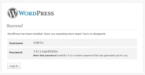 WordPress Installation step 6 - Your admin used and password.