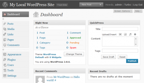 WordPress installation done - Your WP Dashboard