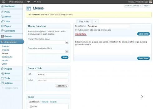 WordPress Menu Created