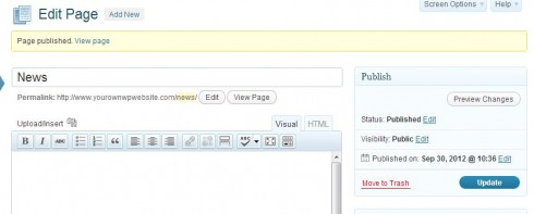 WordPress Page Creation