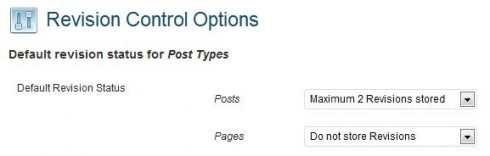 WordPress Revision Coltrol settings