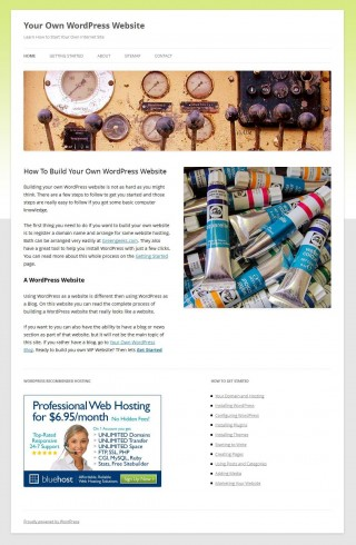 Make WordPress look like a website theme configuration