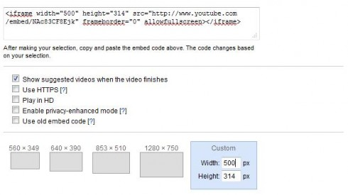 youtube embedding code and size setting